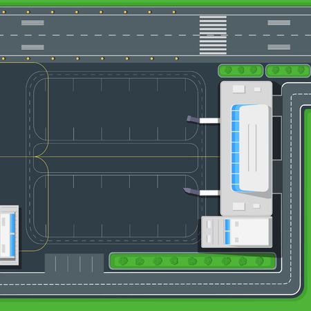 평면 디자인의 공항 상위 뷰 벡터 개념