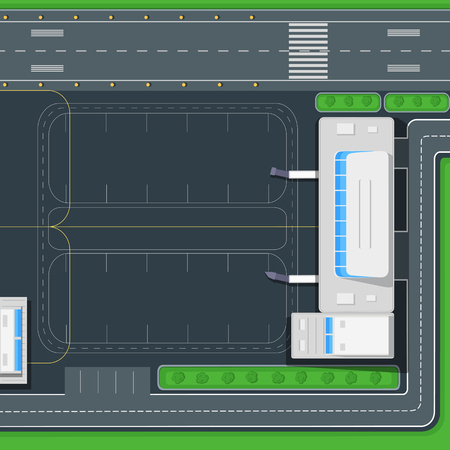 Airport Top View Vector Concept in Flat Design Illustration