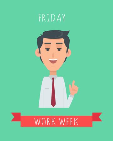 Work Week Emotive Vector Concept In Flat Design Illustration