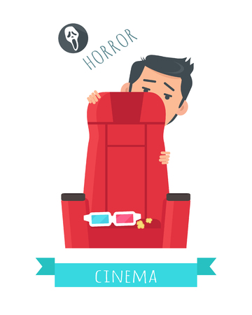 Horror Movie Flat Style Vector Concept Illustration