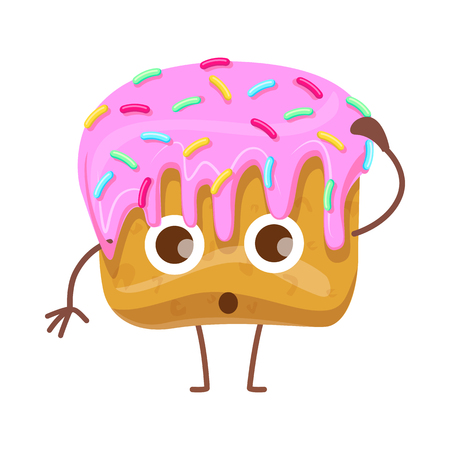 Cupcake with Topping. Confused Cartoon Character 向量圖像
