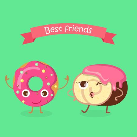 swiss roll: Sweets. Best Friends. Doughnut and Swiss Roll