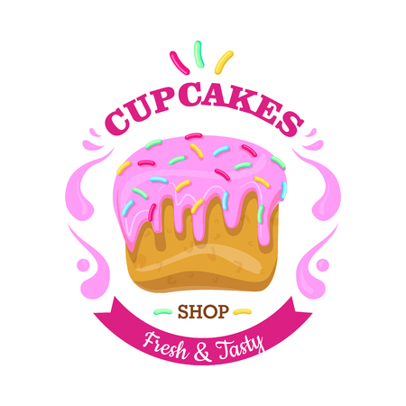 Cupcake with Fowing Topping and confetti. Vector
