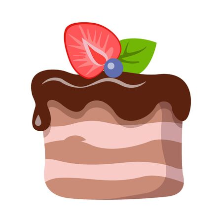 Sweets. Isolated Piece of Cake with Dark Topping Stock Photo