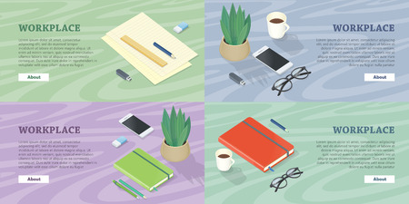 Workplace Web Banners Set in Isometric Projection