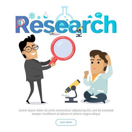 Research Conceptual Flat Vector Web Banner Stock Photo