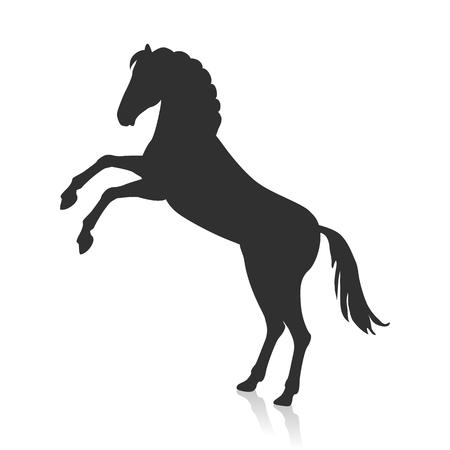 rearing: Rearing Grey Horse Illustration in Flat Design