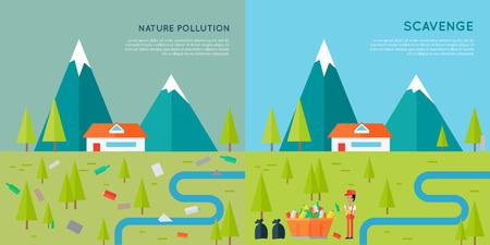 scavenge: Nature Pollution and Scavenge Concept Illustration
