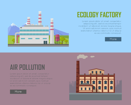 kwaśne deszcze: Ecology Factory and Air Pollution Plant Banners.