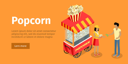 Popcorn Conceptual Isometric Vector Web Banner Illustration