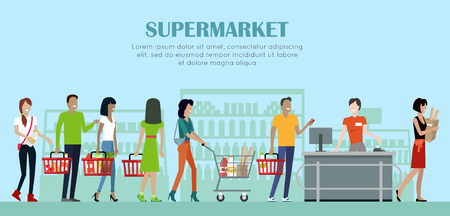 Supermarket Concept Banner in Flat Style Design. Stock Photo