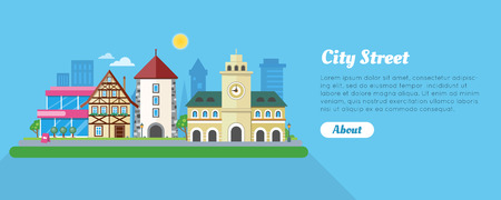 touristic: City Street In Sunny Day Flat Vector Banner Illustration