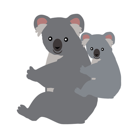 Cartoon Koala with Baby. Vector Illustration Illustration