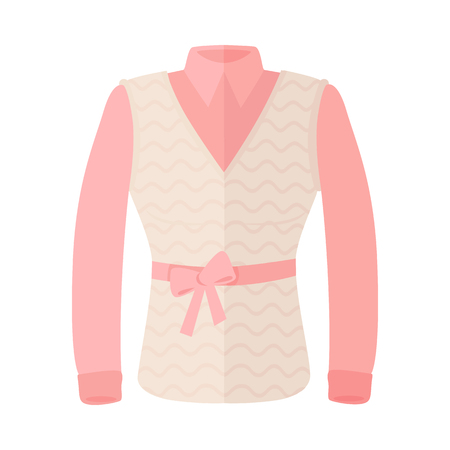 warm clothing: Woman Blouse With Warm Sleeveless And Bow On Belt Illustration