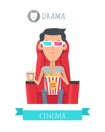 viewer: Drama Movie Flat Style Vector Concept