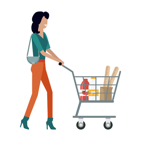 Woman with Shopping Cart Illustration