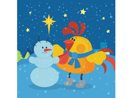chinese new year card: Rooster Sculpts Snowman at Christmas Eve Night Illustration