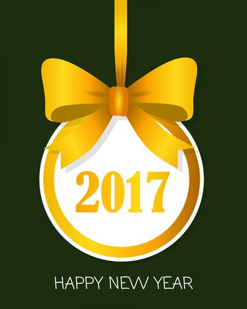 2017 Happy New Year Round Banner with Yellow Bow