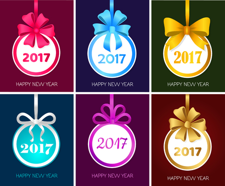 new icon: Happy New Year 2017 Round Christmas Toy Set Vector