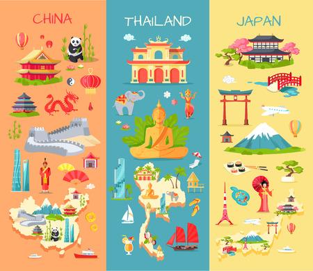 中国。タイ。日本。アジア諸国のアイコン