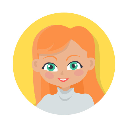 Girl with Red Long Hair. Simple Cartoon Style Illustration