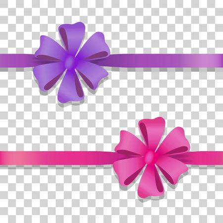Violette und rosa breite Bänder mit bunten Bögen