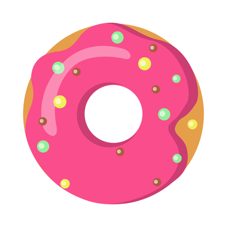 Sweets. Picture of Doughnut with Pink Sprinkles