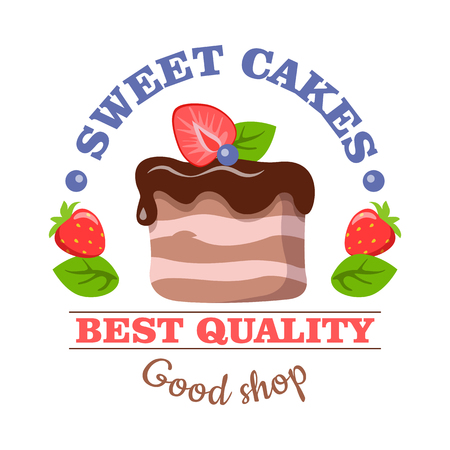 Sweet Cakes. Best Quality. Good Shop. Vector Logo Illustration
