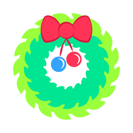 Christmas Green Wreath with Red Bow and Ribbon Illustration