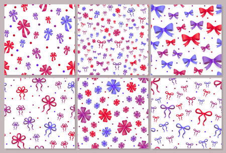 Set of Seamless Patterns with Bows Isolated.