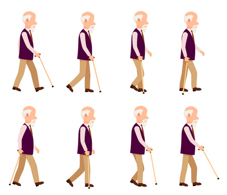 Old Man with Stick. Collection of Character Icons Фото со стока