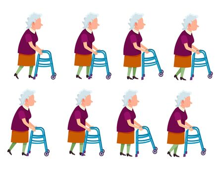 Old Woman with Rolling Walker Simple Cartoon Style Stock Photo