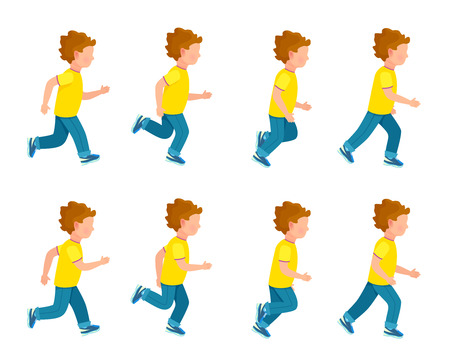 sprite: Running Boy Animation Sprite Set. 8 Frame Loop.