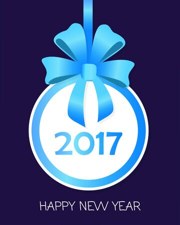 newyear: Happy New Year Round Banner with Blue Ribbons