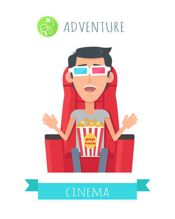 exited: Adventure Movie Flat Style Vector Concept Illustration