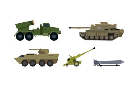 Types of Modern Armament Flat Vector Set Illustration