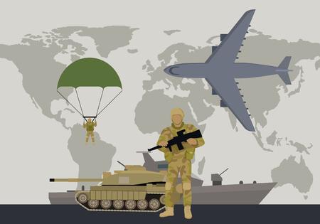 Modern Armed Forces Types Flat Vector Concept Illustration