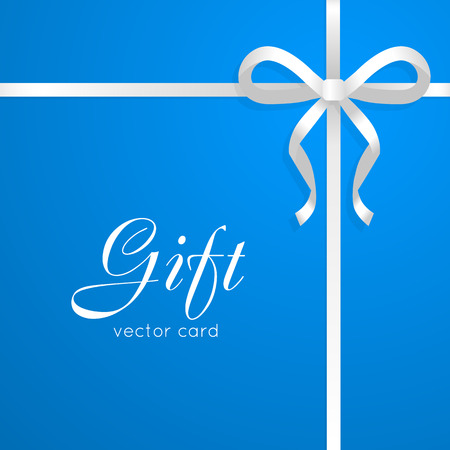 Gift vector card on blue. Illustration of isolated narrow white long ribbon. Short bow in right corner of picture. Simple cartoon style. Front view. Flat design. Colourful kind of decoration. Vector