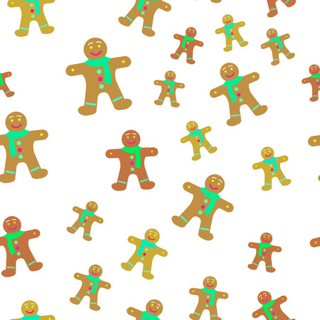 Gingerbread Man Decorated Icing Seamless Pattern. Illustration