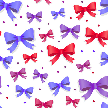 Seamless Pattern with Bows. Gift Kknots of Ribbon