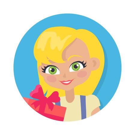 Girl with Fair Hair and Giftbox. Cartoon Style Stock Photo