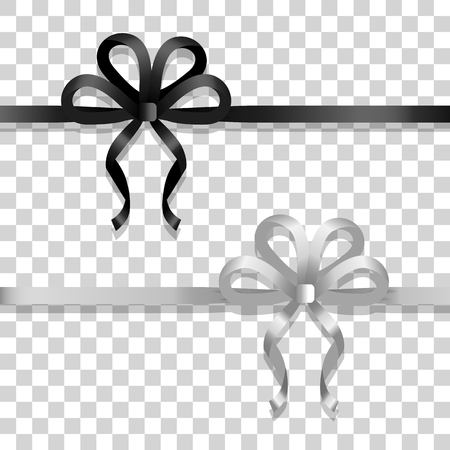 White and Black Narrow Ribbons with Bright Bows