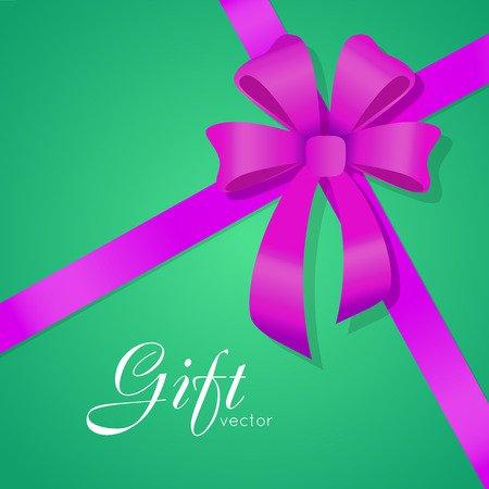 Gift. Vector Bow. Wide Violet Ribbons. Four Petals Illustration