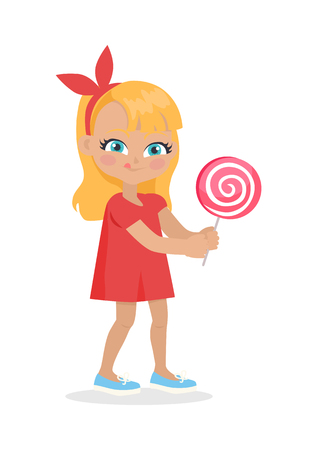 Girl with Long Hair and Red Bow on Head Suck Candy