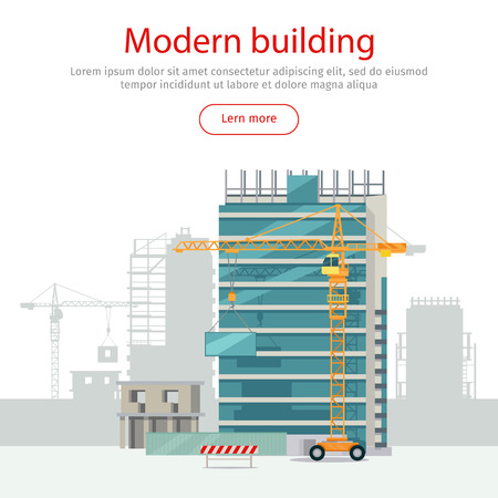 Building Web Banner. Skyscraper. Floors with Glass