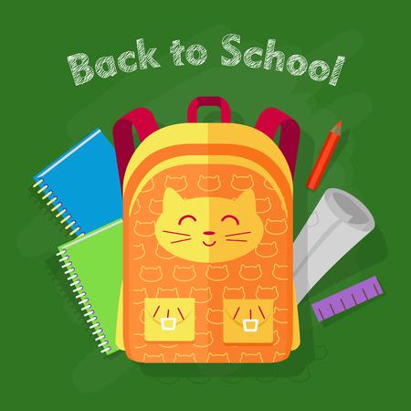 desing: Back to School. Orange Bag on Green Background