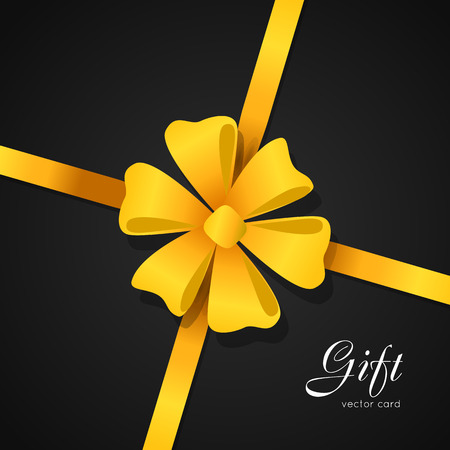 Gift. Vector card. Yellow Bow in Center of Picture