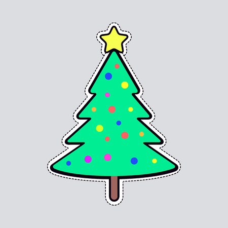 bright christmas tree: Christmas Tree with Bright Balls and Yellow Star