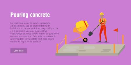 concrete block: Pouring Concrete Web Banner. Modern Building.