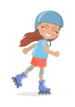 rulos: Chica con cabello largo castaño en patinaje sobre ruedas Vectores